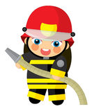 Cartoon character - fireman girl smiling and working isolated Royalty Free Stock Image