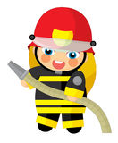Cartoon character - fireman girl smiling and working isolated Royalty Free Stock Photo