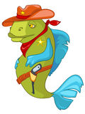 Cartoon Character Fish Sheriff Stock Images
