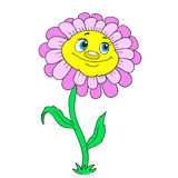 Cartoon character flower. Funny daisy on a white background Stock Images