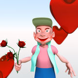 Cartoon character with flowers. Cartoon character looks into the camera and keep flower Stock Photography