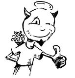 Cartoon character with flowers behind the back. Sketch illustration Stock Images