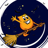 Cartoon character - flying on the broom Stock Photography