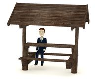 Cartoon character on forest seat Stock Photo