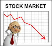 Cartoon character in front of a chart Stock Photo