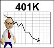 Cartoon character in front of a chart Stock Image