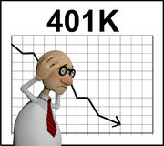 Cartoon character in front of a chart Stock Photos