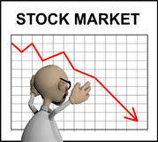 Cartoon character in front of a stock chart Royalty Free Stock Image