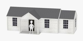Cartoon character in front of US style house Stock Image