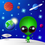 Cartoon Character Funny Alien Royalty Free Stock Photos