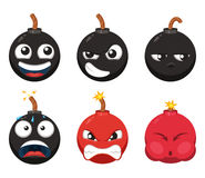 Cartoon character of funny bomb with different emotions. Vector mascot isolate on white Royalty Free Stock Image