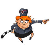 Cartoon character funny woman in the form of a traffic cop Royalty Free Stock Image