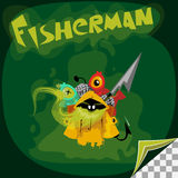 Cartoon character of ghost fisherman. With his catch Royalty Free Stock Photos