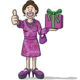 Cartoon character with gift in hand Stock Images