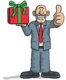 Cartoon character with gift in hand Royalty Free Stock Image
