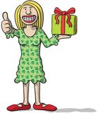 Cartoon character with gift in hand Royalty Free Stock Photos