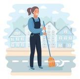 Cartoon character, Girl holding a broom. Stock Photo