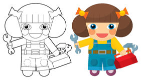 Cartoon character - girl mechanic - coloring page Royalty Free Stock Photos