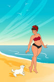 Cartoon character. girl wearing bikini. woman walking with the dog at the beach. vector illustration Stock Photos