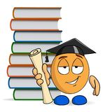 Cartoon character graduation with books Royalty Free Stock Photos