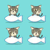 Cartoon character grey tabby cat with big fish sign Royalty Free Stock Photography