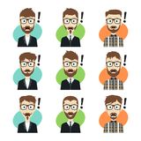 Cartoon character guy surprise set Stock Photography