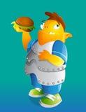 Cartoon Character With Hamburger Royalty Free Stock Images