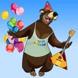 Cartoon character happy bear with a balalaika on holiday Stock Photos