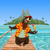 Cartoon character happy bear on the bridge by the tropical island Stock Photography