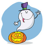Cartoon character happy ghost pumpkin leaves Royalty Free Stock Photography