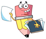 Cartoon character happy pencil with folder Stock Photo