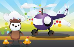 Cartoon character and helicopter vector Royalty Free Stock Photo