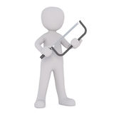 Cartoon Character Holding Large Hack Saw Stock Images