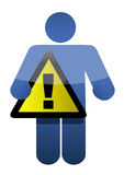 Cartoon character holding a warning sign Stock Image