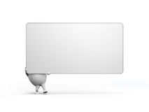 Cartoon Character Holidng a Large Blank Sign. 3D illustration of a cartoon character holding a large blank sign. Isolated on white background Royalty Free Stock Photos