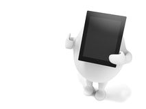 Cartoon Character Holidng a Tablet Computer Royalty Free Stock Image