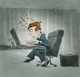 Cartoon character hopeless at the computer Stock Image