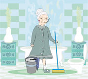 Cartoon character housemaid with mop Stock Photos