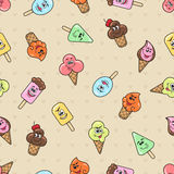 Cartoon character ice cream seamless pattern Stock Images