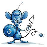 Cartoon character of internet mouse safety guardian icon. Cartoon character of online web browsing and email mouse security guardian antivirus and firewall Stock Images