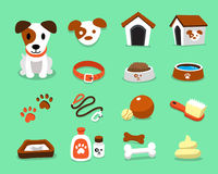 Cartoon character jack russell terrier dog and accessories set. For design Stock Image