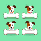 Cartoon character jack russell terrier dog with big bones. For design Stock Photo