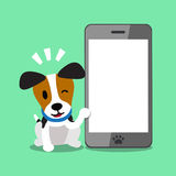 Cartoon character jack russell terrier dog and big smartphone Royalty Free Stock Photos