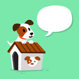 Cartoon character jack russell terrier dog and kennel with speech bubble. For design Stock Photo