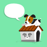 Cartoon character jack russell terrier dog and kennel with speech bubble. For design Stock Photography