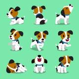 Cartoon character jack russell terrier dog set. For design vector illustration