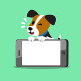 Cartoon character jack russell terrier dog and smartphone Stock Photos