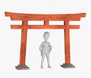 Cartoon character with japan gate Royalty Free Stock Photo