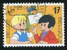 Cartoon Character Jommeke. RUSSIA KALININGRAD, 26 OCTOBER 2015: stamp printed by Belgium, shows Cartoon Character Jommeke, by Jef  Nys, circa 1997 Stock Photos