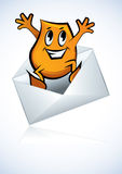 Cartoon character -  jump from e-mail Royalty Free Stock Photos